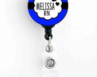 Retractable ID Badge Holder - Personalized Name - Bubble Fun Choice of Colors - Badge Reel, Steth Tag, Lanyard, Carabiner