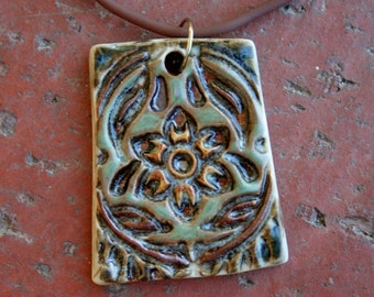 Woodland Craftsman Flower Porcelain Pendant