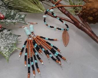 Turquoise, rust, black, copper, amazonite, seed bead, handmade, fringe, dangle earrings.