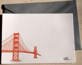 Golden Gate Bridge Letterpress Notecards, 4 cards and envelopes