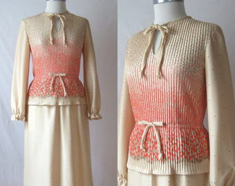 Peplum Dress 70s Floral Print Dress Tie Neck Secretary Dress