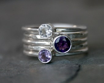 Royal Purple Stacking Rings, Purple Amethyst, Lavender Amethyst, Clear White Topaz, Sterling Silver, Set of Five, Faceted Gemstone Stackable