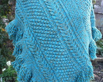 Poncho knit hippie blue aqua turquoise tan teal fringe cable boho small