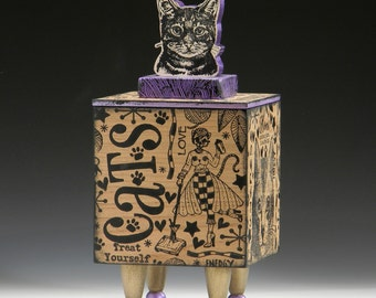 Box, Handmade box, Cat, Kitty, Crazy Cat Lady, Cat Urn