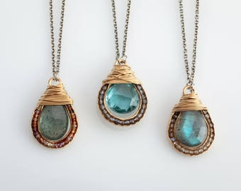 Vermeil Teardrop Wrapped Groove Necklace-small