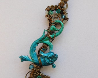 Koi Fish Key Pendant -- Blue-Green Inked Sea Serpent on Wire Wrapped Antique Key, Antique Brass Wire and Blue/Green Crystals