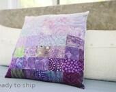 Modern Patchwork Pillow Quilted 20 x 20 Decorative Purple Quilt Art Pillow Toss Pillow Amethyst Theme Decor Bedroom Accessory Modern Home