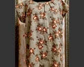 Rose Garden Tunic - handmade linen top, upcycled vintage linen, taupe floral print linen t-shirt, loose fitting linen tee, fine handmade tee
