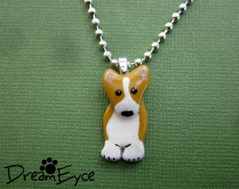 Red Pembroke Welsh Corgi Tiny Pendant Artist Hand-made Clay Necklace B1