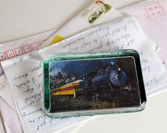 Train Glass Paperweight, Steam Locomotive Photo, Collectible Glass, Clear, Vintage Souvenir, Desk Accessory, Man Cave, Picture Paperweight