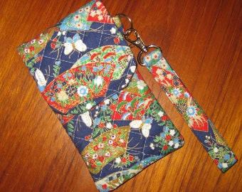 iPhone 6, 7 PLUS Japanese Quilted Fabric Sleeve Butterflies and Fans Design with Wrist Strap