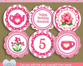Tea Party Cupcake Toppers / INSTANT DOWNLOAD pretty tea and flower theme birthday party printable #P-70 / You can edit text from home