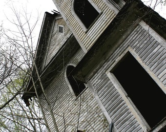 Abandoned Church Photograph - 8x10 Lost Architecture Photo - Forgotten Clapboard Church - Church Steeple - Abandoned America Photography
