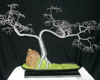 Cascade No.5 Wire Tree Sculpture, with hammered leaves. Original Wire Art by Sal Villano