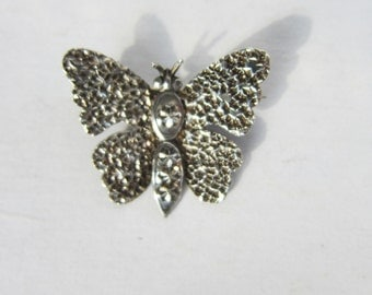 Antique Sterling Silver Hand Stamped Butterfly Brooch - Pin    0678