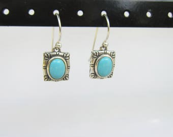 Sterling Silver and Turquoise Modern - Small Dangle Earrings     1424C