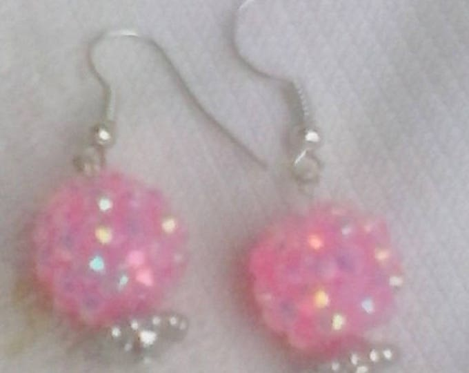 Pink Snowball Earrings