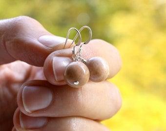 Peach Moonstone Earrings . Moonstone Sphere Jewelry . Moon Earrings . Gemstone Drop Earrings - Antares A Collection . Orb Series