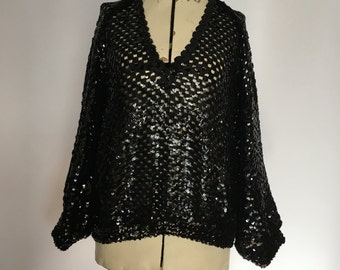 Sequin Sweater Open Knit All Over Sparkle V Neck Sweater Pullover NYE Party