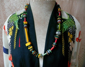 Adira necklace. Strong contrast confidant color, artistic ,one of a kind