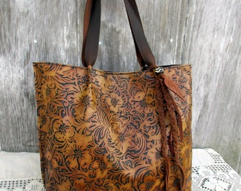 "Leather Tote Bag in Embossed ""Tooled"" Leather by Stacy Leigh"