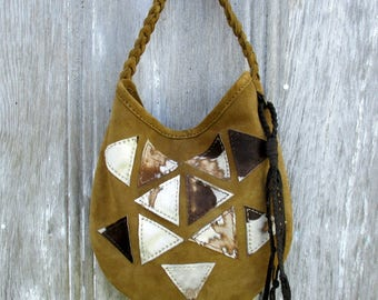 Geometric Triangle Suede Leather Shoulder Bag by Stacy Leigh in Golden Brown