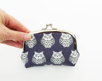 Coin purse, owl fabric, grey and cream owl purse, cotton purse