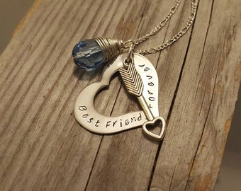 Best Friends Forever |  Heart Arrow Necklace | Wrapped Glass | Custom Stamped Jewelry