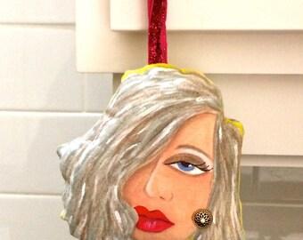 new..ELEANOR SCULPTURED pillow, handpainted pillow, grey hair, hanging pillow, kitchen art, door art, gift for her, sculptured pillow, lips