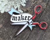Maker Pin: enamel pin, pin badge, enamel lapel pin cloisonne, pingame, enamel badge, scissor pin, crafty pin, enamel lapel pin