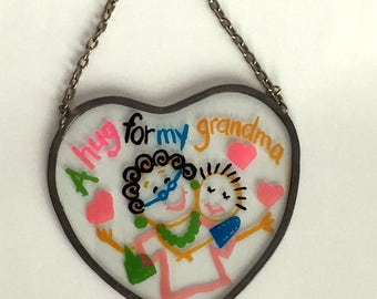 Vintage Painted Glass Heart Hanging Suncatcher with Grandma and Child - A Hug For My Grandma - Cute gift