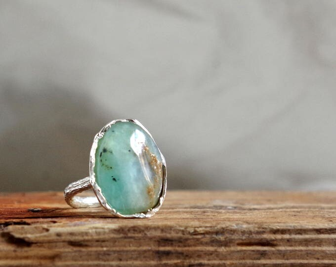 Raw Chrysoprase Ring Silver Gemstone Ring Gifts for Her Summer Jewelry Boho Statement Ring Gift for Libra