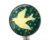 Dove on Soft Green Badge Reel, Bird ID Badge Holder  326