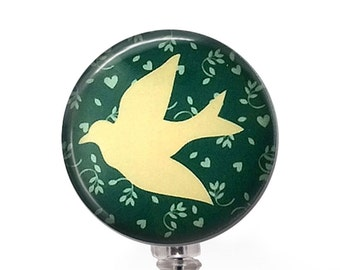Dove on Soft Green Badge Reel, Bird ID Badge Holder  326