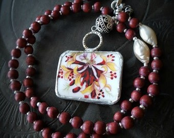 Broken China, Pendant, Wood Beads, Czech Glass, Pearls, Porcelain, Silver Beads, Beaded Necklace