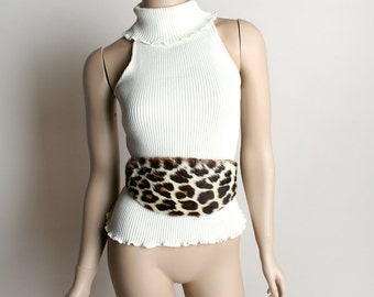 Vintage Leopard Fur Belt - Animal Print Wide 1980s Punk Style Rebel Belt - 27 28 29 inch waist