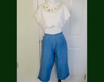 Vintage 1950's Rockabilly Hardy O Howard Blue Canvas Highwaisted Woman's Capri Pant