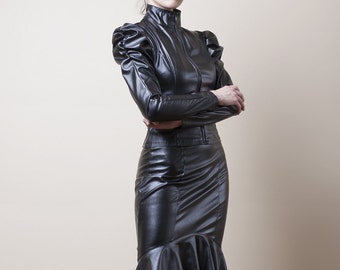 Black Faux Leather/PVC Hobble Skirt-Made to Measure