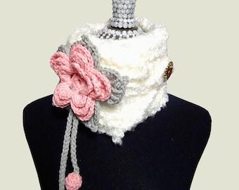 Crochet Pattern - Blossom Neck Warmer - Women's Scarf