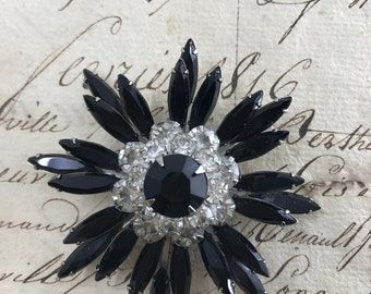Vintage Black Crystal Rhinestone Pin Brooch Perfect Mint