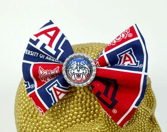 UNIVERSITY of ARIZONA WILDCAT Team - Round Glass Dome cabochon on U of A Wildcat printed fabric Hair Bow on Alligator Clip