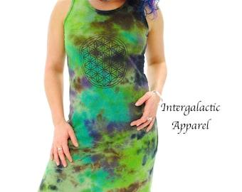 RESERVED Flower of Life Hand dyed Hemp Dress