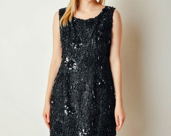 Vintage Embellished Black Dress