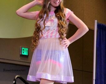 Babydoll nightie, fairy kei iridescent sheer dress carousel merry go round barbie 80s drag queen clothing size M medium