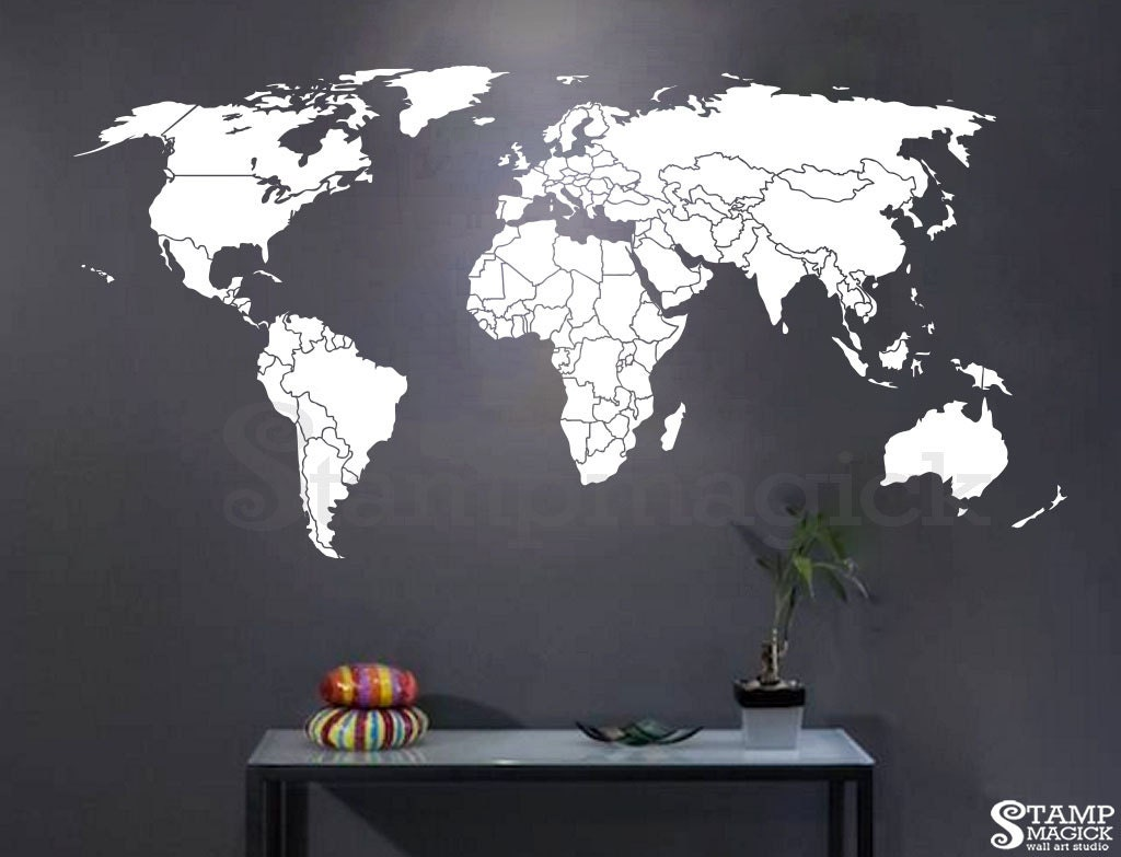 World map countries wall decal world map decal wall art zoom amipublicfo Images