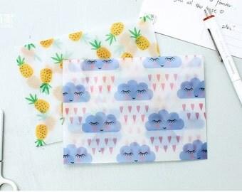 Clouds Vellum Envelope & Envelope Seals 3/Pkg • Raining Clouds Translucent Envelopes