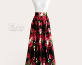 LAST ONE Gathered or pleated floral maxi ball gown satin skirt - rose print on black background - fully lined, custom size and length