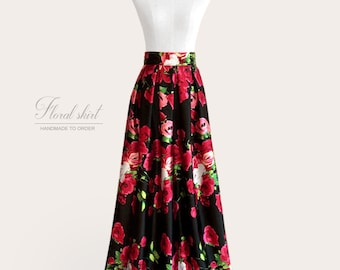 Gathered or pleated floral maxi ball gown satin skirt - rose print on black background - fully lined, custom size and length