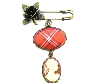 Scottish Tartan Jewelry - Ancient Romance Series - Rose Clan Tartan Sculpted Rose Brooch with Graceful Lady Cameo