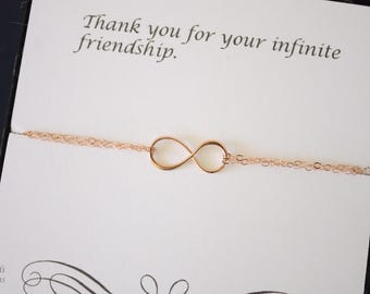 Rose Gold Friendship Bracelet, Infinity Eternity Jewelry, Bridesmaid Gift, Bridesmaid Thank You Card, White Pearl, Pink Gold Bracelet,